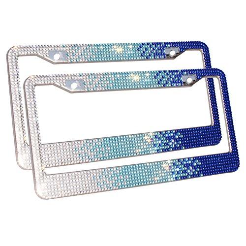 Carfond 7 Row Pure Handmade Bling Bling Rhinestones Stainless Steel Metal Car License Plate Frame Bonus Matching Screws Caps (white/skyblue/blue)- 2 PACK (Car Blue Metal)