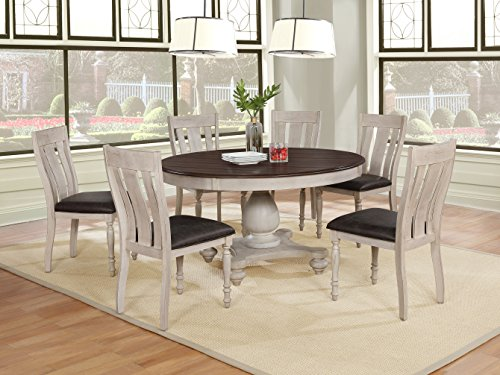Roundhill Furniture T7293R-C7293-C7293-C7293 Arch Solid Wood Dining Set: Round Table, Six Chairs, Distressed White and Dark Oak (Solid Oak Round Dining Table 6 Chairs)