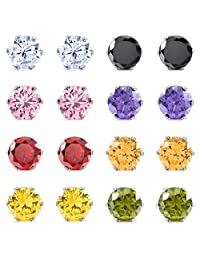 MOWOM Multicolor 3~10 mm 16PCS Stainless Steel Stud Earrings CZ Round Square Royal King Crown Set ( 8 Pairs )