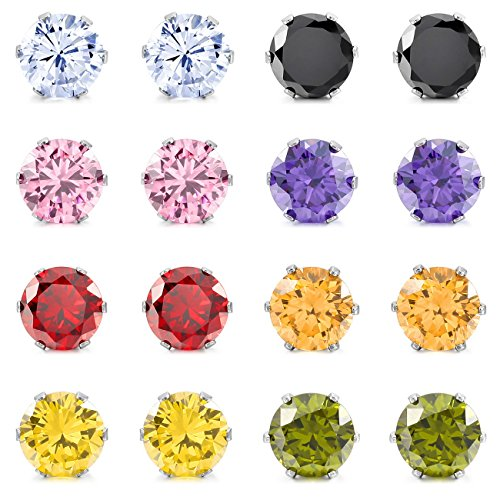 MOWOM Multicolor 8mm 16PCS Stainless Steel Stud Earrings CZ Round Square Royal King Crown Set (8 Pairs)