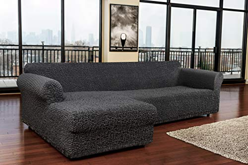 Sectional Sofa Cover - Sectional Couch Covers - L Couch Cover - Cotton Fabric Slipcovers - 1-piece Form Fit Stretch Furniture Slipcover - Mille Righe Collection - Dark Grey (Left Chase) by PAULATO BY GA.I.CO. (Image #2)