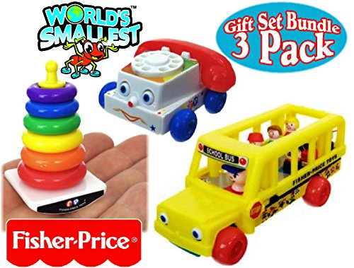 - World's Smallest Fisher-Price Chatter Telephone, Rock-A-Stack & Little People School Bus Complete Gift Set Party Bundle - 3 Pack