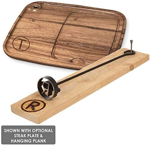 BBQ Fans Circle P Branding Iron for Steak, Buns, Wood Leather Includes Redwood Plank Wood Steak Plate