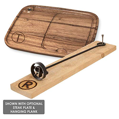 BBQ Fans Letter A Branding Iron for Steak, Buns, Wood & Leather | Includes Redwood Plank & Wood Steak Plate