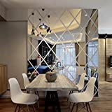The diamond mirror mirror three-dimensional wall stickers dining room TV background wall entrance ceiling decoration,silvery,large