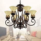 6-Light Black Wrought Iron Chandelier with Glass Shades (D-6318-6S)