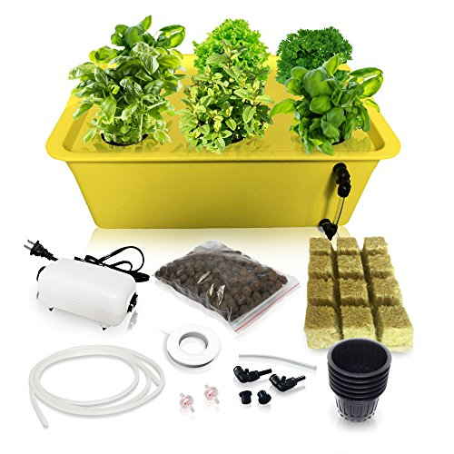 $50.99 Hydroponics Kits DWC Hydroponic System Growing Kit – Large Airstone, Rockwool, 6 Site (Holes) Bucket with Air Pump – Complete Hydroponics Indoor Herb Garden Starter Kit for Kitchen – Grow Super Fast (6 Sites) 2019
