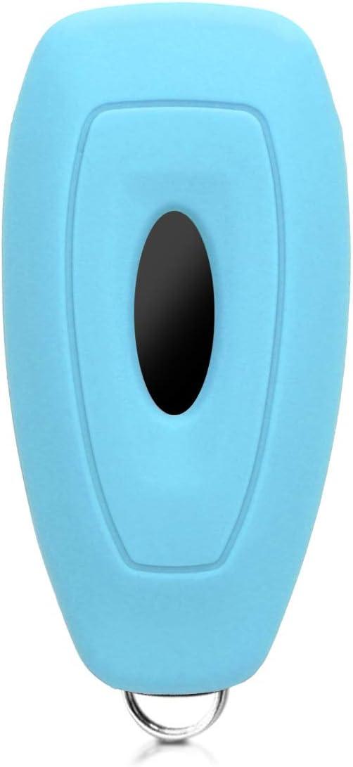 Bande de Couleur Bleu-Blanc kwmobile Accessoire Cl/é de Voiture Compatible avec Clef de Voiture Keyless Go Ford 3-Bouton Coque de Protection Souple en Silicone