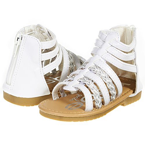 bebe Girls Toddler/Little Kid Strappy Ankle High Back Zipper Gladiator Sandals With Braided Accent Size 9 White/Silver Ankle Accent