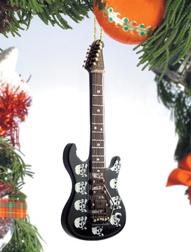 Skull Design Electric Guitar Music Instrument Replica Christmas Ornament, 5 inch ()