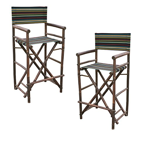 Zew Hand Crafted Tall Foldable Bamboo Director's Chair with Treated Canvas, Set of 2 Chairs, Espresso Finish, Striped Indigo