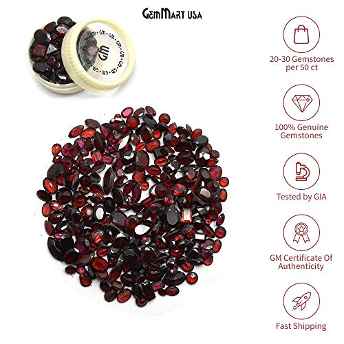 (GemMartUSA 50+ Carats of Real Natural Red Garnet Mix Gemstones Lot in Mixed Shapes and Sizes. Grade A quality, Incredible Wholesale Price. Prepared exclusively by GT-60001)
