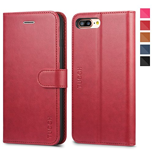 iPhone 8 Plus Case, iPhone 7 Plus Wallet Case, TUCCH Magnetized Closure Card Slots Money Pouch, PU Leather Purse Cover Flip Book [TPU Shockproof Interior Case] iPhone 8 Plus/7 Plus, Red by TUCCH