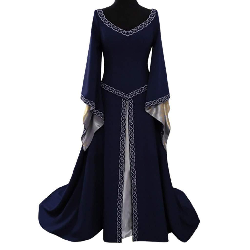 Mysky Fashion Women Medieval Vintage Flare Long Sleeve Floor Length Cosplay Palace Long Dress