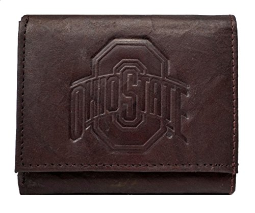 Rico Ohio State Buckeyes NCAA Embossed Logo Dark Brown Leather Trifold Wallet
