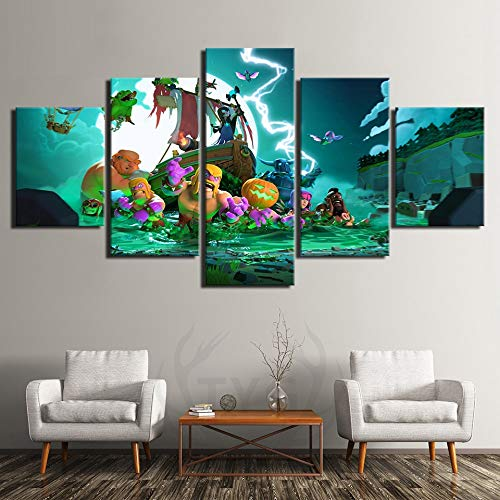 HENANFSLY 5 Pieces Cartoon Halloween Tower Defense Games Cartoon Pictures Wall Art Canvas Paintings for Home Decor Posters Cuadros Prints -