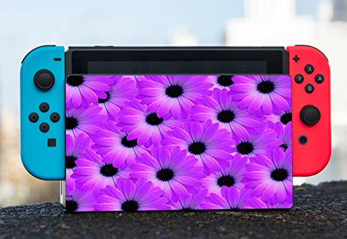 Purple Floral Flower Daisy Pattern Nintendo Switch Dock Vinyl Decal Sticker Skin by Moonlight Printing