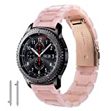{New Year Gifts} Samsung Gear S3 Frontier / Classic Band - 22mm Fashion Resin Bracelet Strap with Metal Stainless Steel Rose Gold Buckle for Gear S3 Frontier SM-R770 / Classic SM-R76 (Pink-tone)