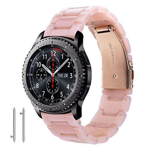 CAGOS Compatible Samsung Galaxy Watch (46mm) Bands/Gear S3 Frontier/Classic Bands - 22mm Fashion Resin Bracelet Strap with Metal Stainless Steel Buckle Replacement for Gear S3 Smartwatch (Pink-Tone)