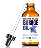 ORGANIC BORAGE SEED MOISTURIZING OIL - in 4 oz Dark Glass Bottle with Eyedropper | 100% Pure Cold Pressed Unrefined | Essential Skin anti redness relief for arthritis, eczema, rosacea and psoriasis