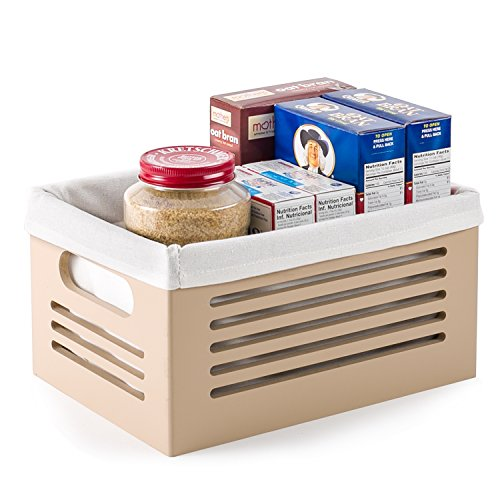 Wooden Storage Bin Containers - Decorative Closet, Cabinet and Shelf Basket Organizers Lined With Machine Washable Soft Linen Fabric - Tan, Small - By Creative Scents