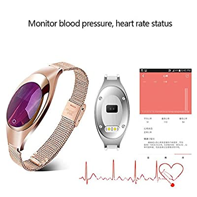 Kobwa 2017 Fitness Tracker Wristband, Heart Rate+ Blood Pressure+ Blood Oxygen+ Pedometer Bluetooth Z18 Activity Exercise Monitor, Fashion Smart Watch for IPhone Android Phones- Golden
