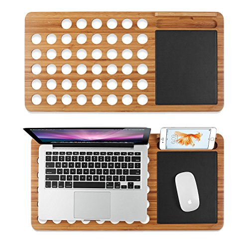 Prime Sale Day Deals Week 2018-Bamboo Laptop Lap Desk Pad Board Notebook Tablet Cellphone Smartphone Stand Holder Organizer with Built-in Mouse Pad Hole for Cooling Fits up to 11''-13''-15'' (11''-13'') by Valentoria