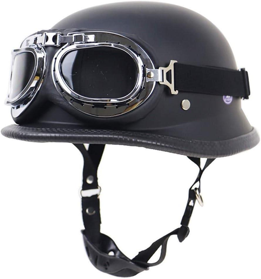 AEDFD Motorradhelm Zum Halboffenen /Öffnen Motorrad-Kollisionsschutz ECE-DOT-Zertifizierung Schutzhelm Mit Schutzbrille Einstellbare Gr/ö/ße Chopper Moped Roller,Matte Black-M