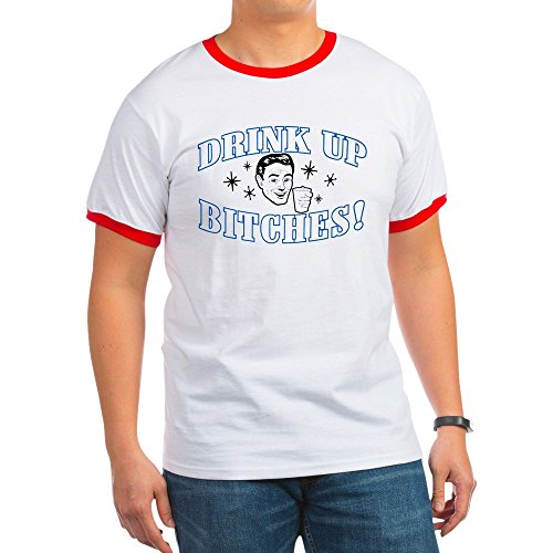Royal Lion Ringer T-Shirt Beer Drink Up Bitches - Red/White, 2X ()