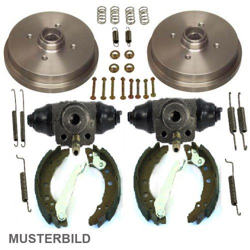 2 x Kit de tambor + Zapatas de Freno + Kit de accesorios + 2 x rueda de freno Cilindro ø19,05 eje trasero, SEAT CORDOBA 6 K 99 - 02 1.6; ...