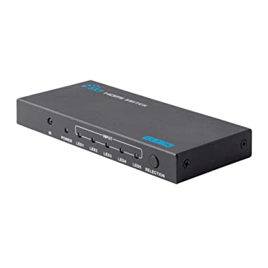 Monoprice Blackbird 4k 5x1 HDMI 1.4 Switch - Black | 4K @ 30Hz, HDCP 1.4 Compliant, Auto Switching Sources, 10Gbps Bandwidth, and IR Remote Control