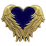 PinMart Blue Heart with Antique Gold Angel Wings Enamel Lapel Pin