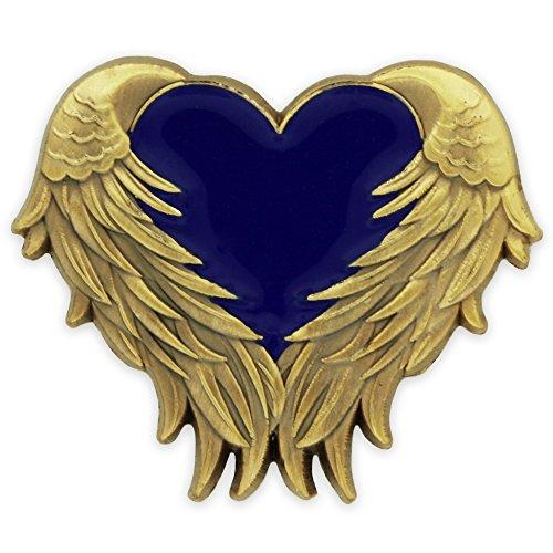 PinMart Blue Heart with Antique Gold Angel Wings Enamel Lapel Pin