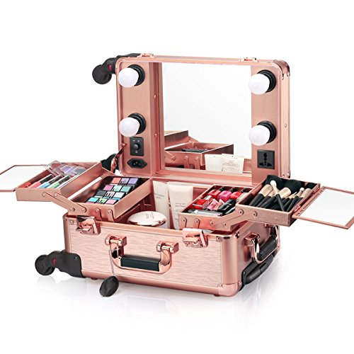 Ovonni Small LED Makeup Train Case, Lighted Rolling Travel Portable Cosmetic Organizer Box with Mirror and 4 Detachable Wheels, Professional Artist Trolley Studio Free Standing Workstation, Rose Gold (Rolling Makeup Case With Lights And Mirror)