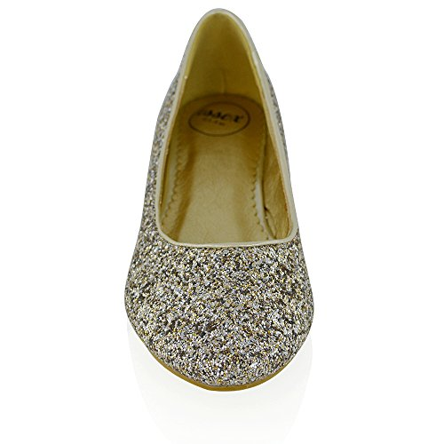 Essex Glam Kvinner Glitter Brude Dolly Pumper Sko Gull Glitter
