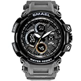 Men Digital Watches with Rubber Band Outdoor Sport Military Watch LED Date Wrist Watch (Grey)
