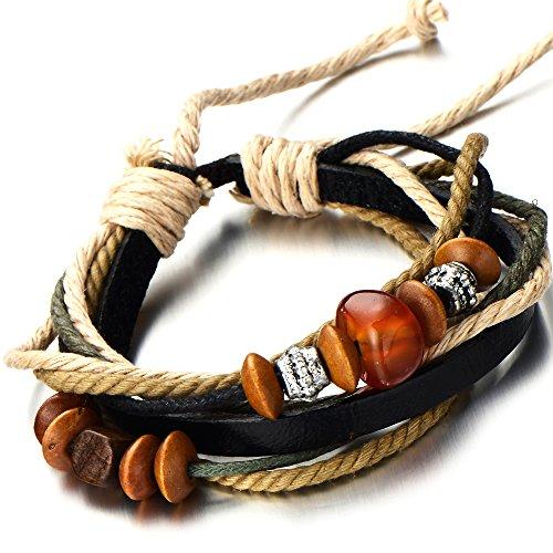 Multi strand Leather Bracelet Wristband Tri tone