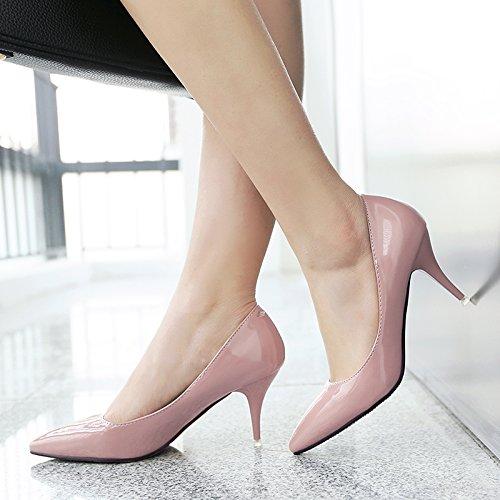 de Jqdyl de 5cm con con zapatos con nuevos individuales tacón invierno negro dama Zapatos Bare 7 Zapatos Zapatos pink tacón alto Tacones mujer de alto de tacón bajo Eqw7rXE