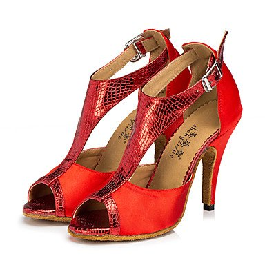 Baile Rojo Marrón Zapatos Tacón Zapatillas Red Personalizables Latino baile de Morado Moderno Cuadrado de Jazz pxnprz