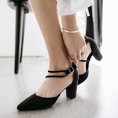 ZHUDJ Zapatos De Primavera Primavera Zapatos con Tacones Altos Roma Todos Crudo-Match Marea De Verano,Negro,38 Thirty-eight black