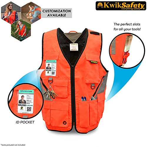 KwikSafety ARTISAN | Tool Vest | Reflective Multi Pocket Lightweight Work Wear | Hi Vis Volunteer Emergency Crew Surveyor Carpenter Electrician Engineer | Men Women Regular to Over Sized Fit | 4XL/5XL by KwikSafety