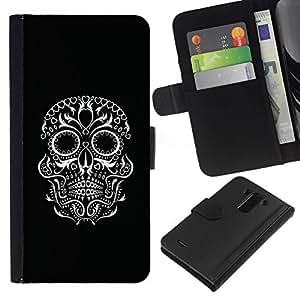 All Phone Most Case / Oferta Especial Cáscara Funda de cuero Monedero Cubierta de proteccion Caso / Wallet Case for LG G3 // Black Biker White Skull Eyes Rock