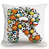 Throw Pillow Cushion Cover,Letter R,Realistic Looking Volleyball Basketball Soccer Balls Language of the Game Theme,Multicolor,Decorative Square Accent Pillow Case