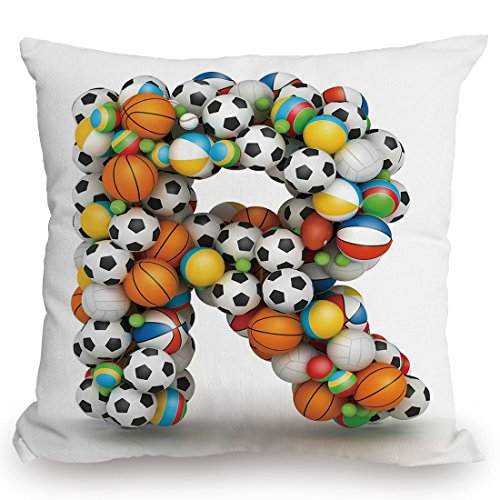 Throw Pillow Cushion Cover,Letter R,Realistic Looking Volleyball Basketball Soccer Balls Language of the Game Theme,Multicolor,Decorative Square Accent Pillow Case by KissCase