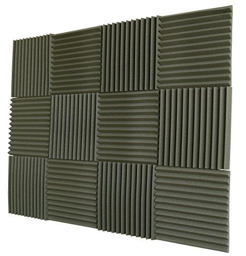 Foamily 12 Pack- Olive Green Acoustic Panels Studio Foam Wedges 1