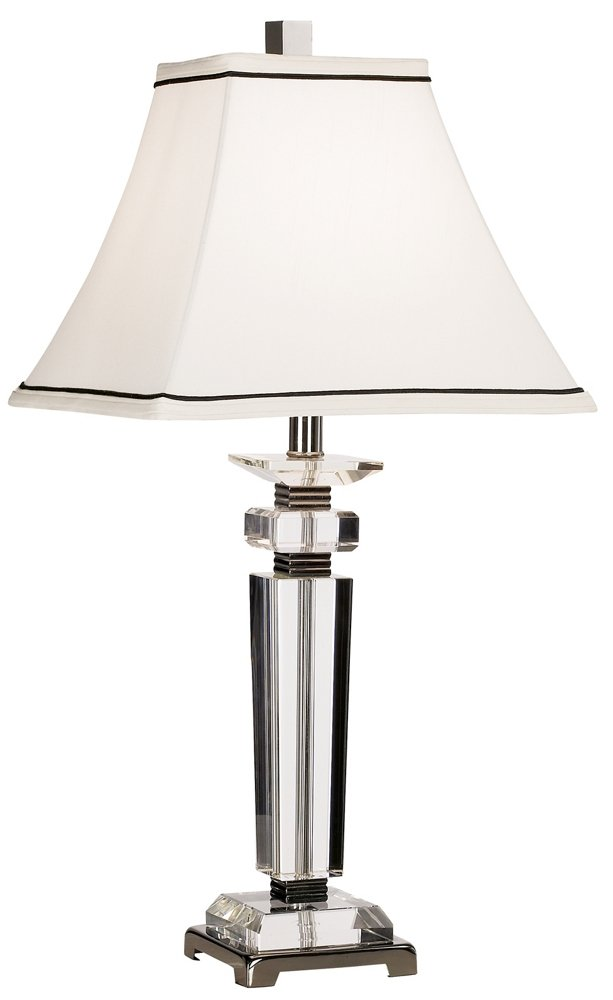 "Modern Table Lamp Crystal Column Flared Bell White Shade for Living Room Family Bedroom Bedside Nightstand - Vienna Full Spectrum - 27"" high overall. Shade is 6"" across the top x 13"" across the bottom x 10 1/2"" on the slant. Uses one maximum 100 watt standard-medium base bulb (not included). On-off socket switch. From the Vienna Full Spectrum™ crystal lighting brand. - lamps, bedroom-decor, bedroom - 51q n0ORq L -"