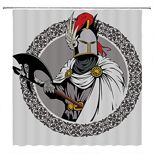 SATVSHOP Bathroom-Shower-Curtain-Sets-for-Master,-Kid's,-Guest-Bathroom-Medieval-Illustration-of-The-Medieval-Knight-with-Traditional-Costume-and-Ancient-Mask-Heroic-Past-.W54-x-L72-inch]()