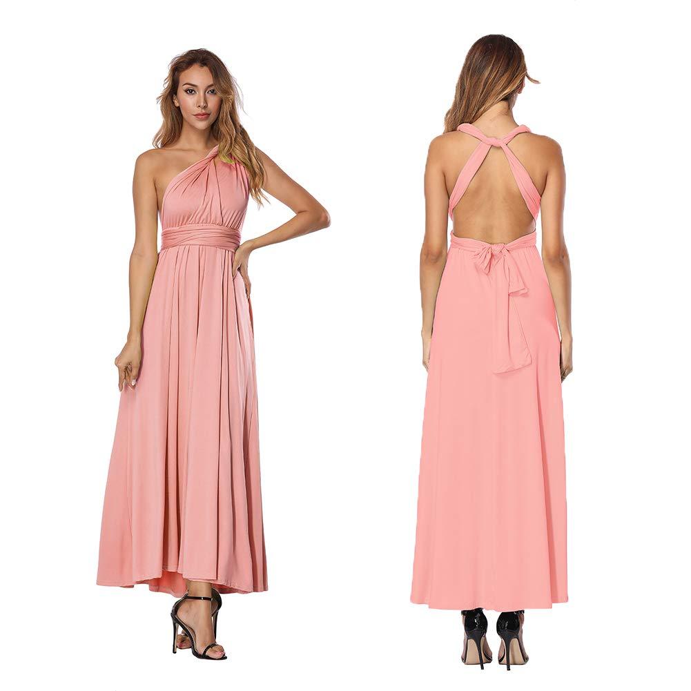 FeelinGirl Mujer Vestido de Noche Longitud M/áxima Falda Fiesta C/óctel Tirantes Convertibles Multi-Manera
