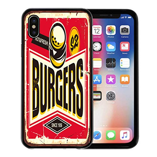 Semtomn Phone Case for Apple iPhone Xs case,Burgers Vintage Tin Sign Creative Typo and Fast Food Restaurant Promotional Retro Board for iPhone X Case,Rubber Border Protective Case,Black