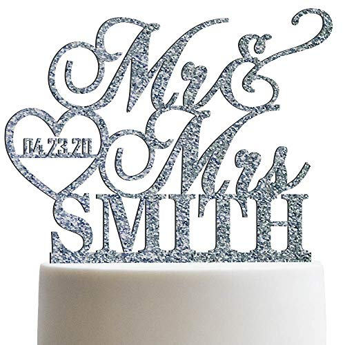 Personalized Wedding Cake Topper Mr Mrs Heart Customized Wedding Date And Last Name To Be Bride & Groom | Glitter Cake Toppers ()